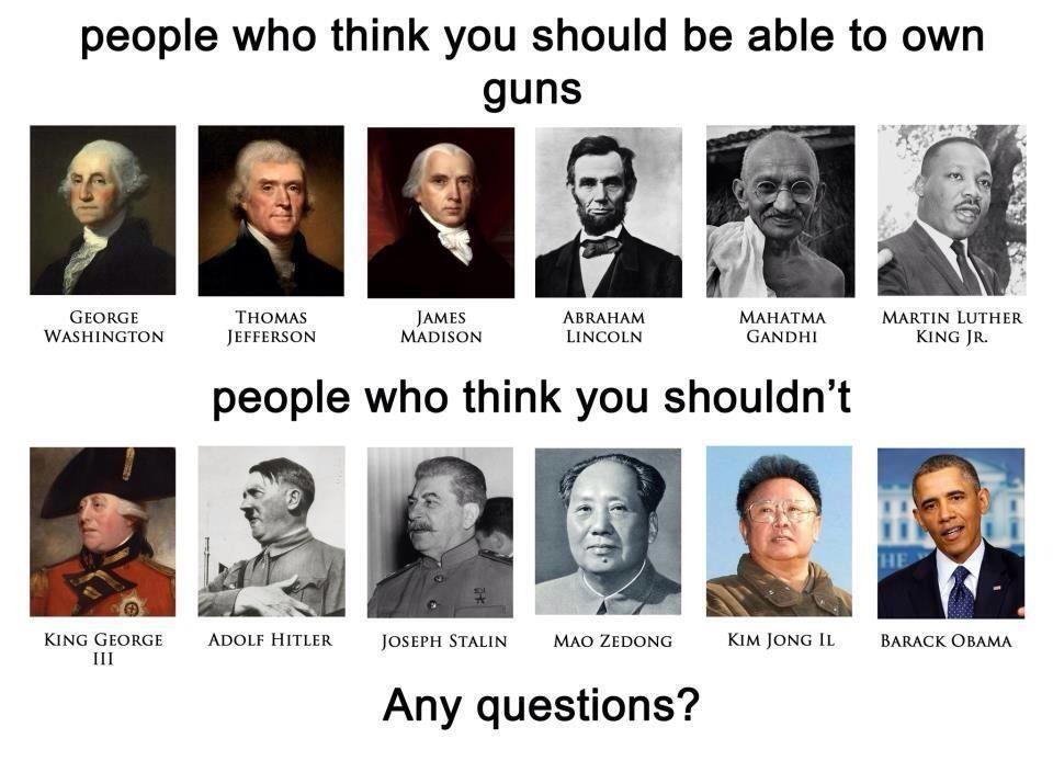 Who thinks you should be able to own guns and those who don't