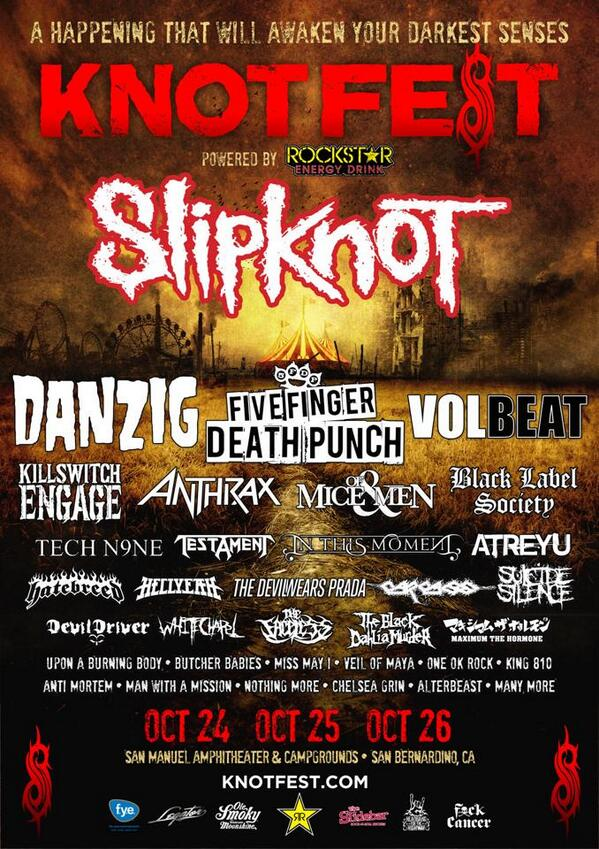 KNOTFEST 2014 comes to So Cal for the only US dates. Get earlybird tix inc VIP & camping NOW: http://t.co/kofFMsMKH1 http://t.co/5g0uu08h8f