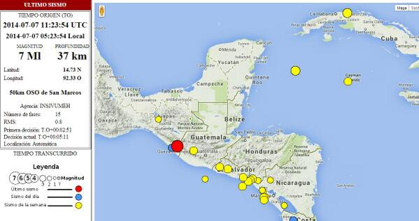 dInsivumeh, registró sismo hoy, magnitud 7.0 grados Richter, epicentro a 50 Kms OSO de #SanMarcos. http://t.co/2NDBLAr5lL