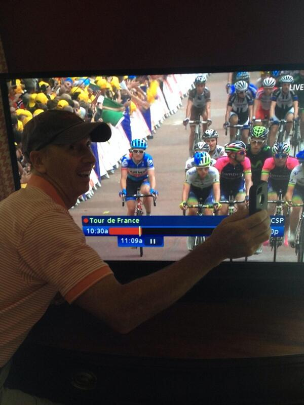 My uncle @danking01 demonstrates how to safely take a #TDF2014 selfie. #LetMeTakeASelfie http://t.co/wgYY5Fqyxt