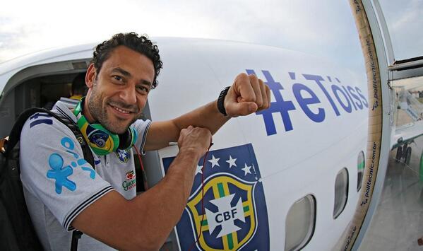 Seleção Brasileira embarcou para Belo Horizonte. Amanhã tem Brasil x Alemanha pela semi final. Valeu, @fredgol9 ! http://t.co/PVKrr15FGF