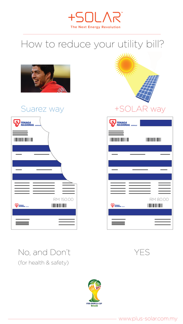 Guys, choose the right way to reduce utility bill ;) #FIFA #Worldcup2014 #Suarez #PlusSolar #Solar #GoGreen http://t.co/MFcMHJlczR