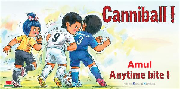"And here it is! ""@Amul_Coop: Amul Topical : Uruguay striker uses his teeth! #FIFA #WorldCup http://t.co/9VgOkH45KT"""