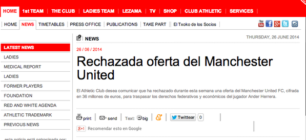 Athletic Bilbao announce they have rejected €36m Man United offer for Ander Herrera