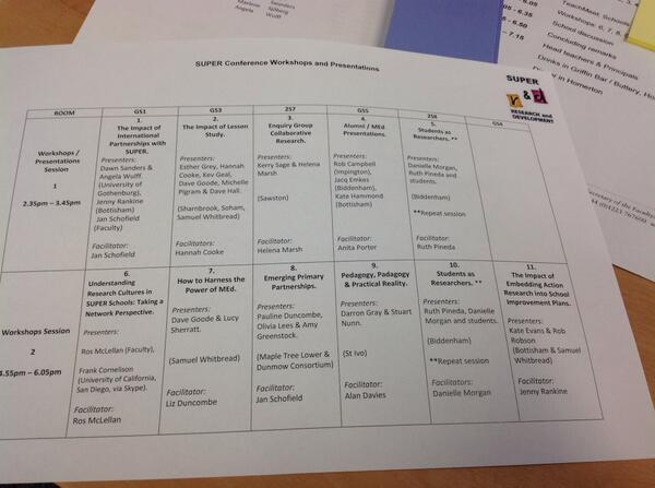Great line up of workshops for our annual conference today! #SUPER2014 http://t.co/6fXWJWkjZ7