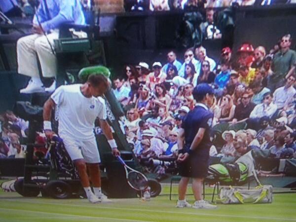 Rosol durante un instante del partido contra Nadal en Wimbledon 2014