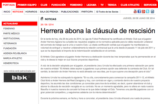 Athletic Bilbao confirm Ander Herrera has paid his buyout clause, expected to join Man United