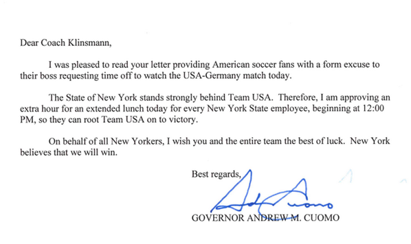 #USA, NYS stands strongly behind you. I'm approving an extra hour for lunch today: http://t.co/5G0ys3Zo2E #USAvGER http://t.co/2TVnzqbY1A