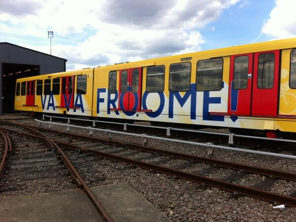 Another picture of @chrisfroome's train by @DLRLondon - so so cool. There's an actual train! With his name on! #mega http://t.co/Fk3wu8ooxR