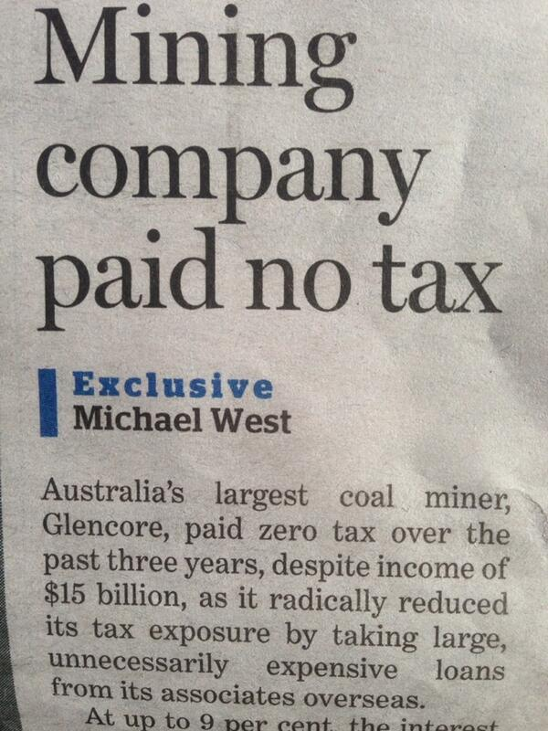 Robbing pensioners as Glencore income $15000000000 pays $0 tax. Only @MichaelWestBiz @SMH reports it. #auspol http://t.co/izHbxmxQuh