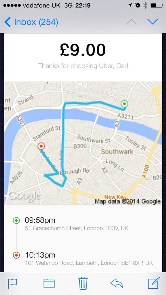 """""""The road is closed"""" he said. Utter nonsense. Been absolutely ripped by this @Uber_LDN (UberX) driver! http://t.co/xfp2RtnRg0"""