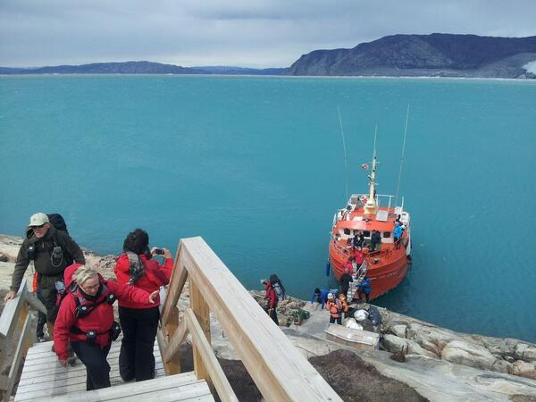 A snap as we disembarked at Glacier Camp Eqi - look at that water! Incredible. #Greenland #travel http://t.co/mgsc1zppdw