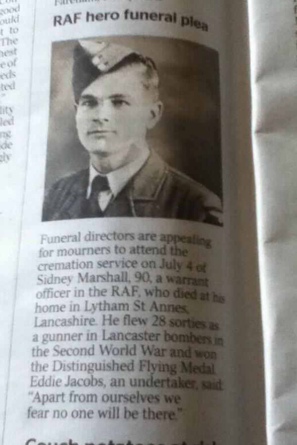 @BBCLancashire @GrahamLiver can you help spread the word so this #war #hero has ppl at his #funeral! #veteran http://t.co/PcQL82yDyk