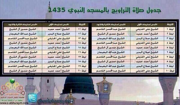 جدول صلاة التراويح في المسجد النبوي لعام ١٤٣٥هـ