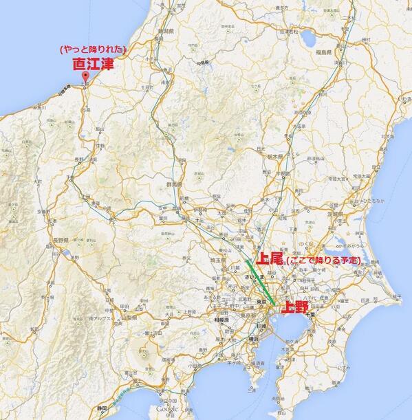 都内からさいたまへ終電で帰ろうとしてスヤァ…。高崎からノンストップ、やっと降りれたら日本海側だった #夏だしフォロワーさんの怖い話教えてください http://t.co/VVl4lh7Dfd