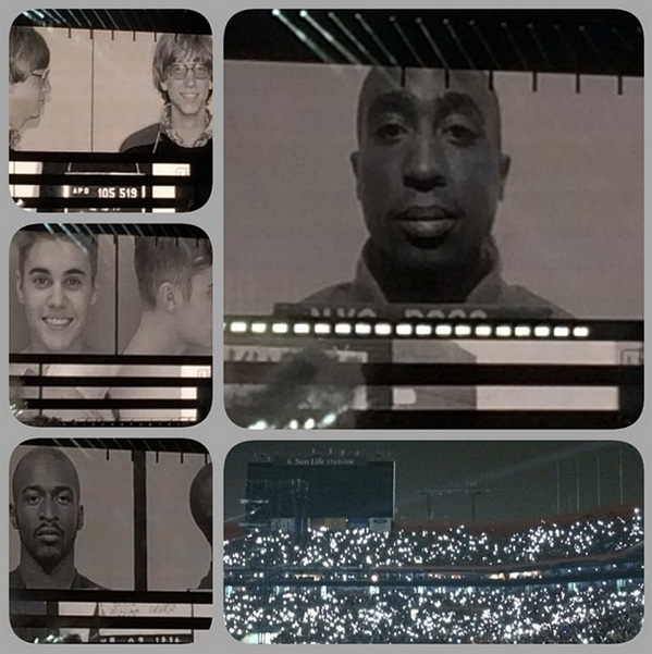 Justin's mug shot makes an appearance at Beyoncé & Jay Z's 'On the Run Tour.' Wonder if he's excited lol http://t.co/PWFmu9NfrW