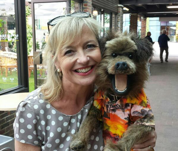 Hacker T Dog with @carolkirkwood at #Wimbledon2014 http://t.co/ReQ6xFyg9R