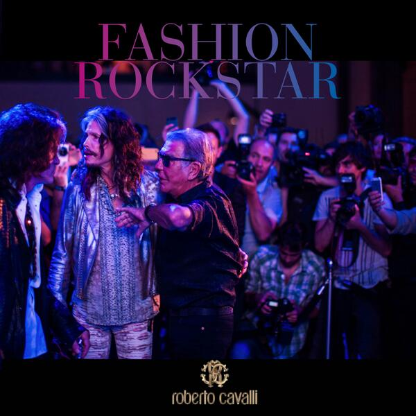 A scrum of paparazzi was waiting for @IamStevenT, @JoePerry and Roberto Cavalli at the SS15 Men's show!