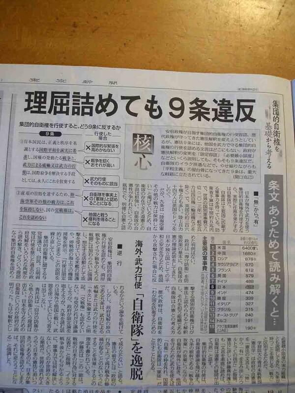 """""""@snoopylovesbird: 東京新聞6月26日3面 理屈詰めても9条違反 条文あらためて読み解くと・・ 「自衛隊」を逸脱 #憲法9条 には、他国を武力で守る #集団的自衛権 の行使を認める文言どこにもない。政府は9条違反だ。http://t.co/8vkiDKJiih"""""""