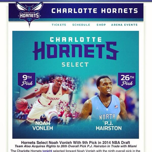 Great job @hornets on the draft yesterday! #BuzzCity http://t.co/zSg4r7FqBp