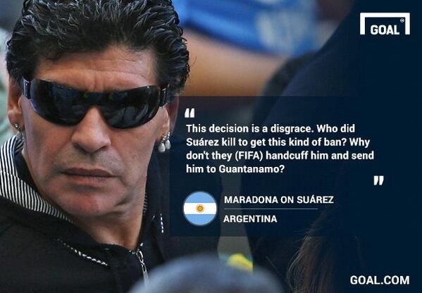 """Who did #Suarez kill?"" #Maradona criticises #Fifa for the length of the striker's ban http://t.co/zKEcCDJhOq #Uru http://t.co/qYlxj384zD"