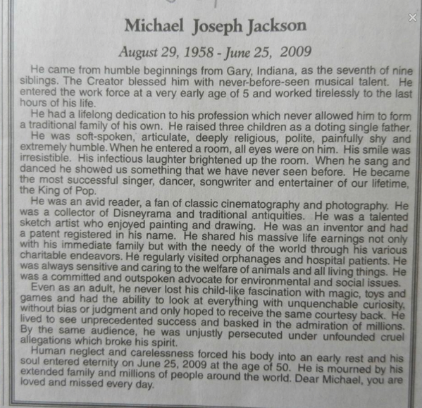 RETWEET - June 25, 2014 - LATimes - In Memory of a Most Special Human Being - Michael Jackson http://t.co/wU5yBD32Oa