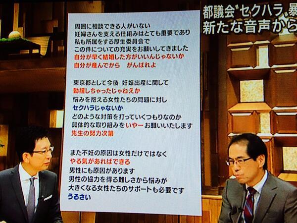 報ステによる都議会性差別の音声分析では、新たに 「自分が産んでからがんばれよ」 「動揺しちゃったじゃねえか」 「先生の努力次第」 不妊に対しても「やる気があればできる」との発言が確認。 下衆の極みだ。東京都民として発言した都議は許せん。http://t.co/Q32WCjXqC2