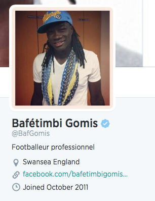 Doh! After signing for Welsh club The Swans, Bafétimbi Gomis has updated his Twitter location to Swansea, England