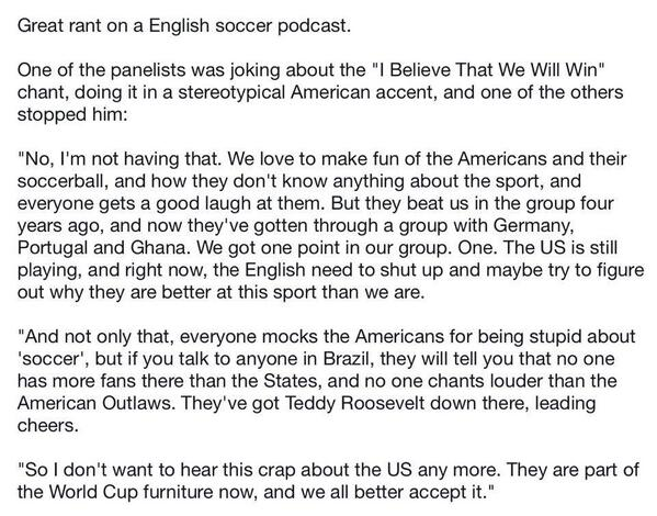 Awesome. Any idea where the audio is? RT @NOLA_Fredo: Great soccer rant #USA #IBelieve : http://t.co/mlKtDCchRk