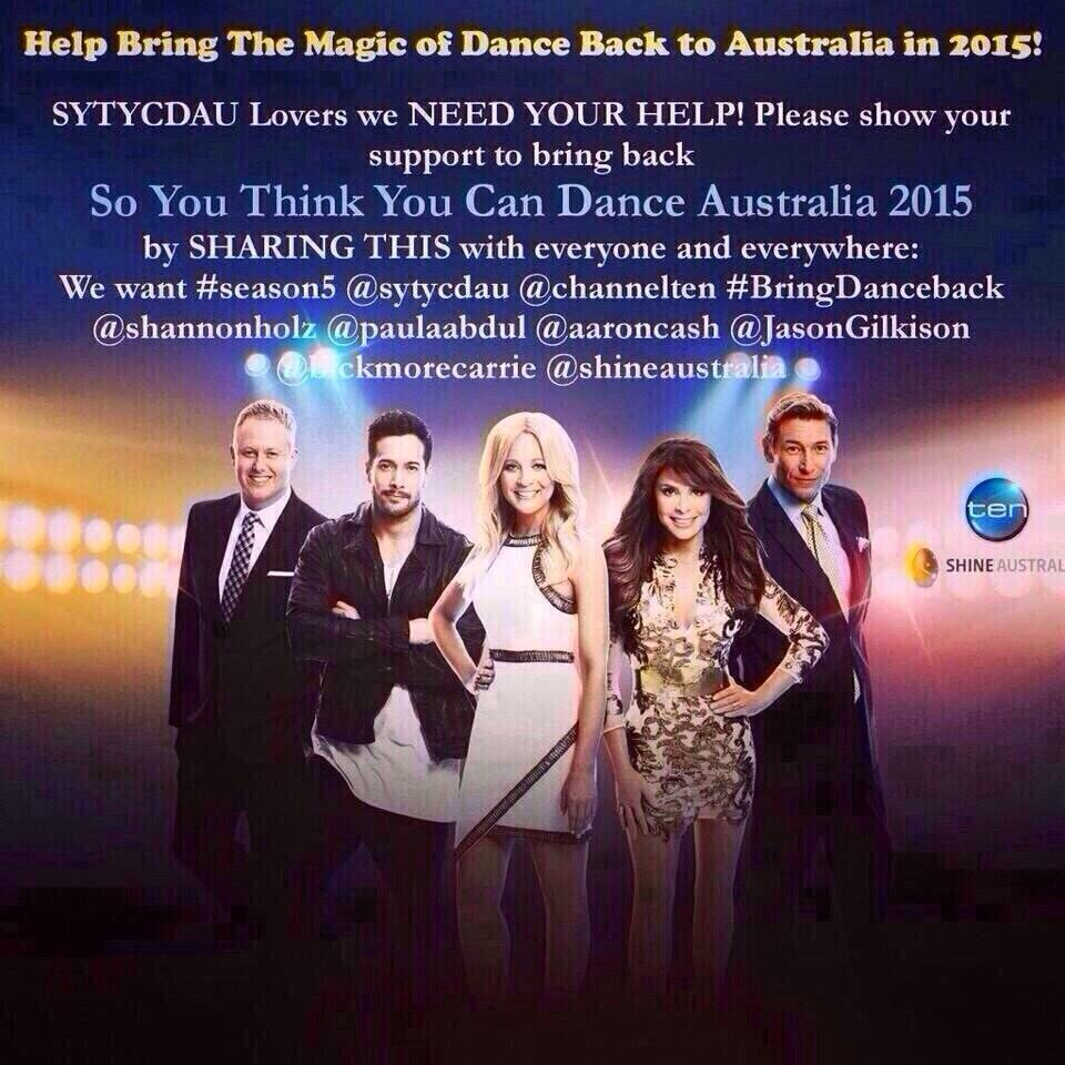 RT @HildaCaliente: Day by day we miss them more @AaronCash @JasonGilkison @shannonholtz @PaulaAbdul @channelten @ShineAustralia #sytycd htt…