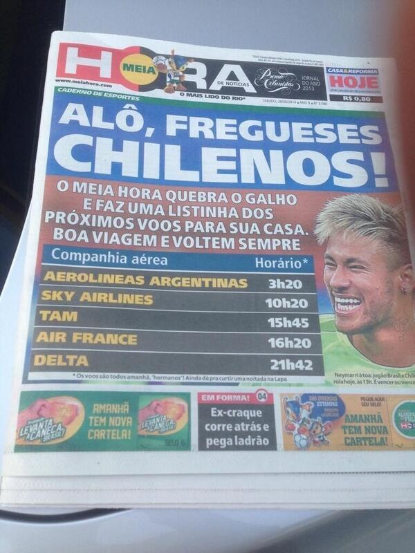 Diario pone horarios de vuelos para volver a CHile burlándose x el partido. No les vaya a salir el tiro x ... http://t.co/BSUSBA8fnp