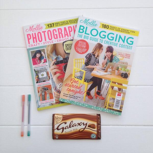 #Whatsonyourdesk? I like being nosey! I have these fantastic issues from @MollieMakes some chocolate and pens :) http://t.co/Imi33r08FB