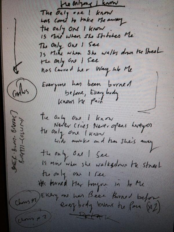 My handwritten lyrics for The Only One I Know. Worth less than Bob's £2m but RT for chance to win. Winner 10pm tmrw http://t.co/gEhkWrOexR