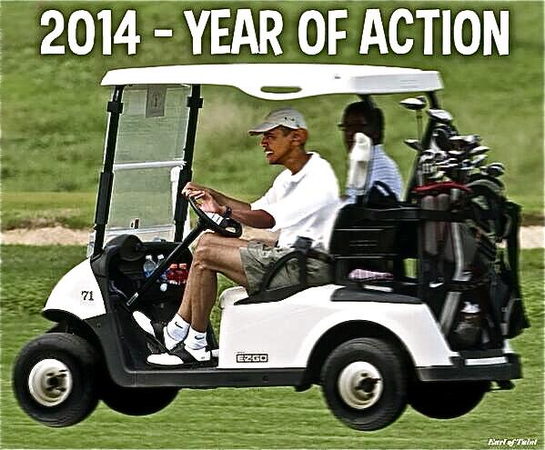 Obama golfs now for the 8th weekend in a row.
