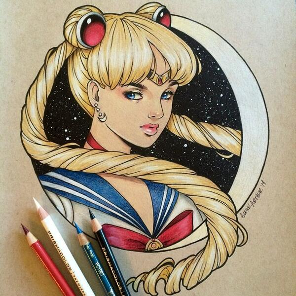 #SailorMoon drawing for the #MoonCrisis2014 show opening next Sat. July 5th at the #RothickArtHaus in Anaheim, CA! http://t.co/Eky4dwXqkk