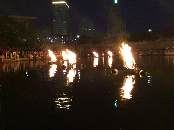 Pyres burning brightly at WaterFire. http://t.co/SpnE2mp45w