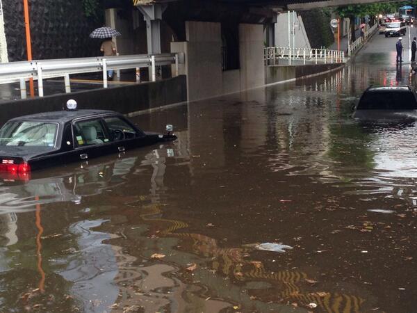 小田急線ガード下水没。 pic.twitter.com/oxBjcRvCZT