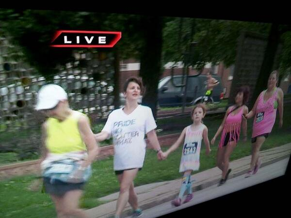 Check out our own Rosemarie Boyle and Celeste Smith in the @pridestl #5K this morning! #diomo #episcopal #PrideSunday http://t.co/8ozSp7KgR3