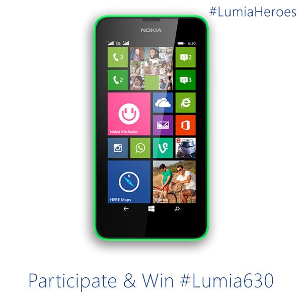 Wanna win a brand new Lumia 630 smartphone? Check back @ 2pm for details!  #LumiaHeroes @NokiaIndia http://t.co/NcN0y4Gw54