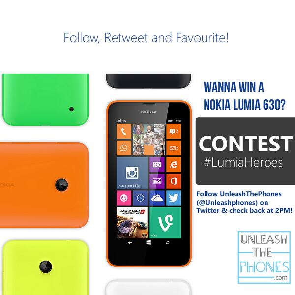 We are giving away a brand new Nokia Lumia 630! Check back @ 2PM IST to win! #LumiaHeroes @NokiaIndia http://t.co/2aUYTtZk8O