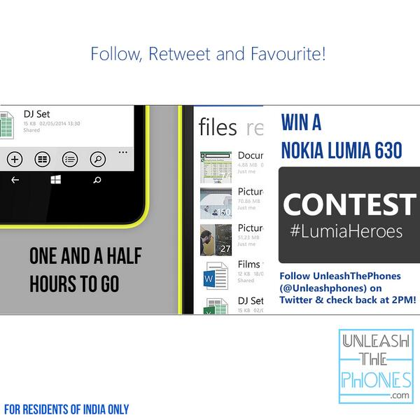 Excited? You should be! Participate @ 2PM IST and you can win a brand new Lumia 630! RT and favourite! #LumiaHeroes http://t.co/kjDCxYbd9q