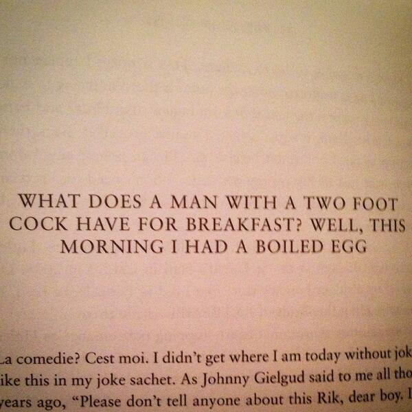 Rik Mayall's autobiography has the best chapter headings... http://t.co/sfDoK31H0x