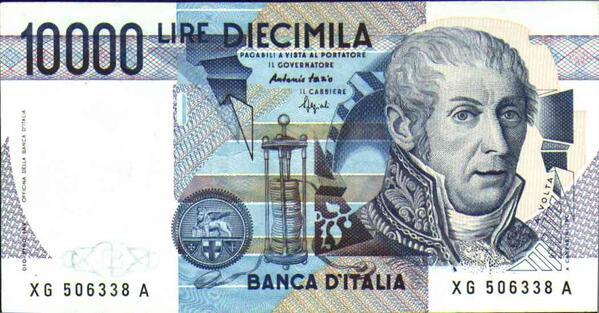 10000 Lire con il volto di Alessandro Volta