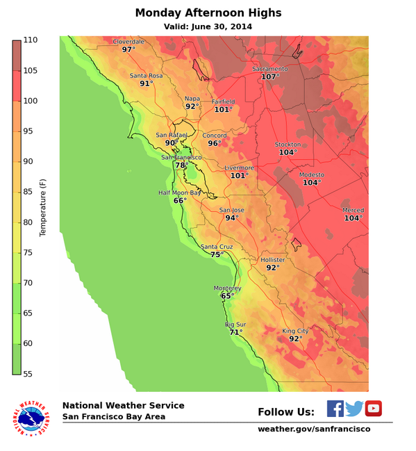 Hot temps away from the coast today. Stay cool & hydrated.#BayAreaheat #CAheat For safety tips http://t.co/NVP5Ake4CQ http://t.co/txrvdNnp4j