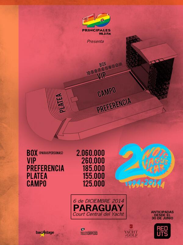Las entradas para NTVG estarán a la venta desde las 17 hs. Acá les dejamos el mapa y los precios. @ntvgoficial http://t.co/gZHRJLdIhn