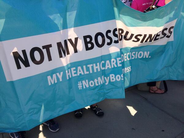 At SCOTUS, birth control isn't your bosses business...unless you want your boss to pay for it http://t.co/WxNm26j1DH