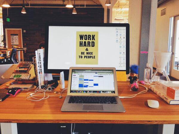 This is where I sit. Pretty minimal. My desktop wallpaper is a print that I love from designer @anthonyburrill. http://t.co/nKDjrisb9C