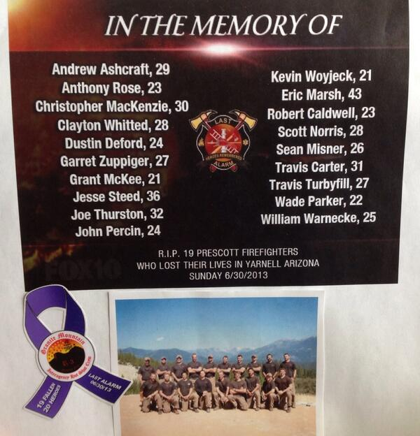 Phx. FFs remember the 19 fallen firefighters from the Granite Mountain Hotshot crew who died a year ago today. RIP. http://t.co/iOuHRi3lX6