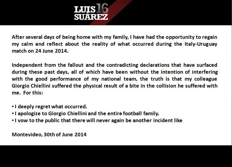 Luis Suarez apologises for biting Giorgio Chiellini at the 2014 World Cup