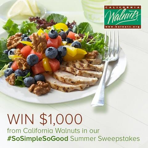 Enter @CAWalnuts #SoSimpleSoGood Summer Sweepstakes for a chance to win $1,000! http://t.co/gNmYLyULTR